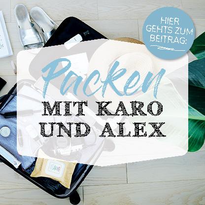 Beitrag Button Kofferpacken mit Karo und Alex mit dem Koffer im Hintergrund