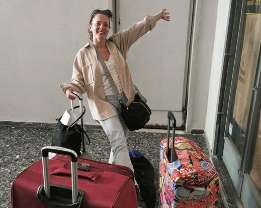Angekommen in Athen mit den Koffern