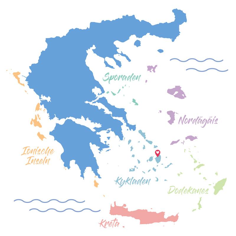 Griechenland Übersichtskarte Inselgruppen in unterschiedlichen Farben