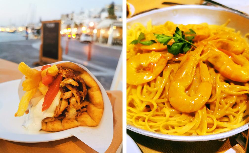 Naxos Sehenswürdigkeiten - Naxos Gyros Pita und Spagetti Shrimps