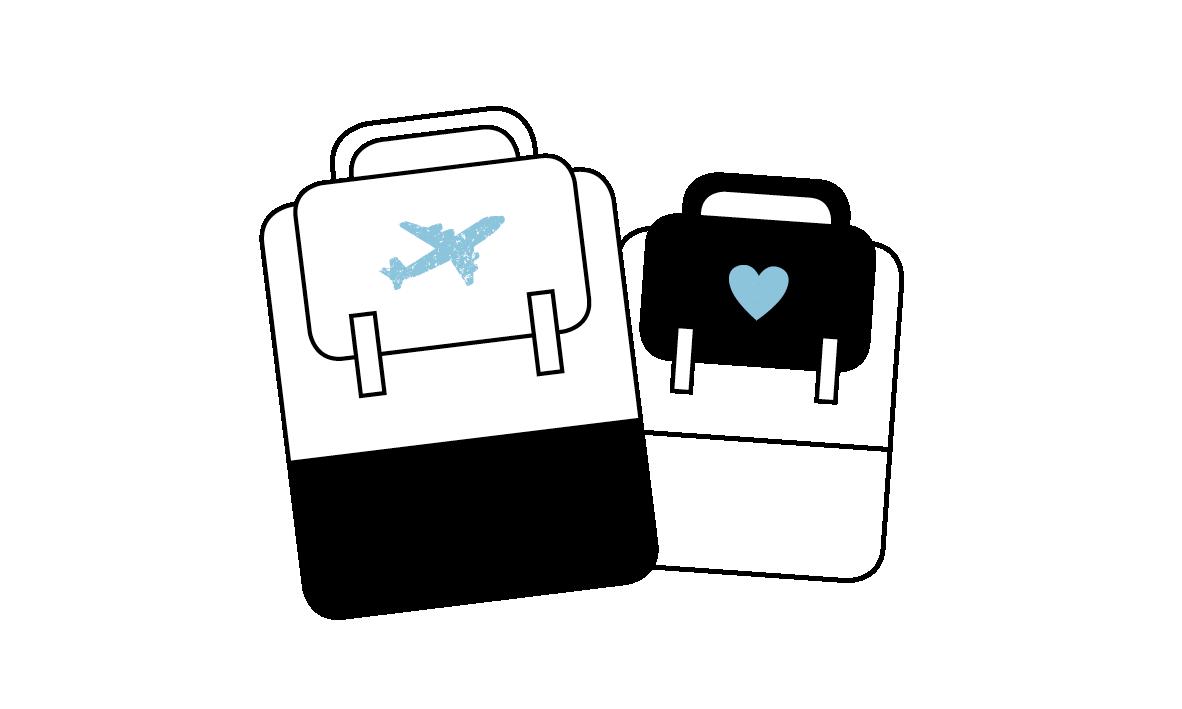 Reisetaschen Icon in Schwarzweiß