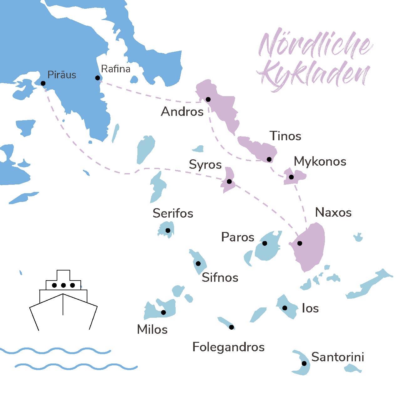 Map der Inselhopping Route Nördliche Kykladen