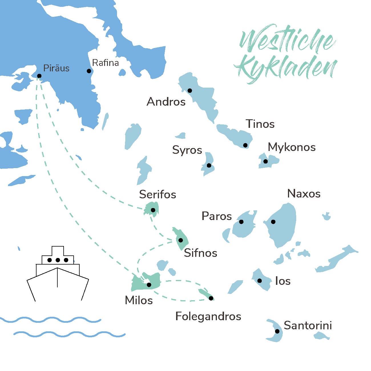 Map der Inselhopping Route westliche Kykladen