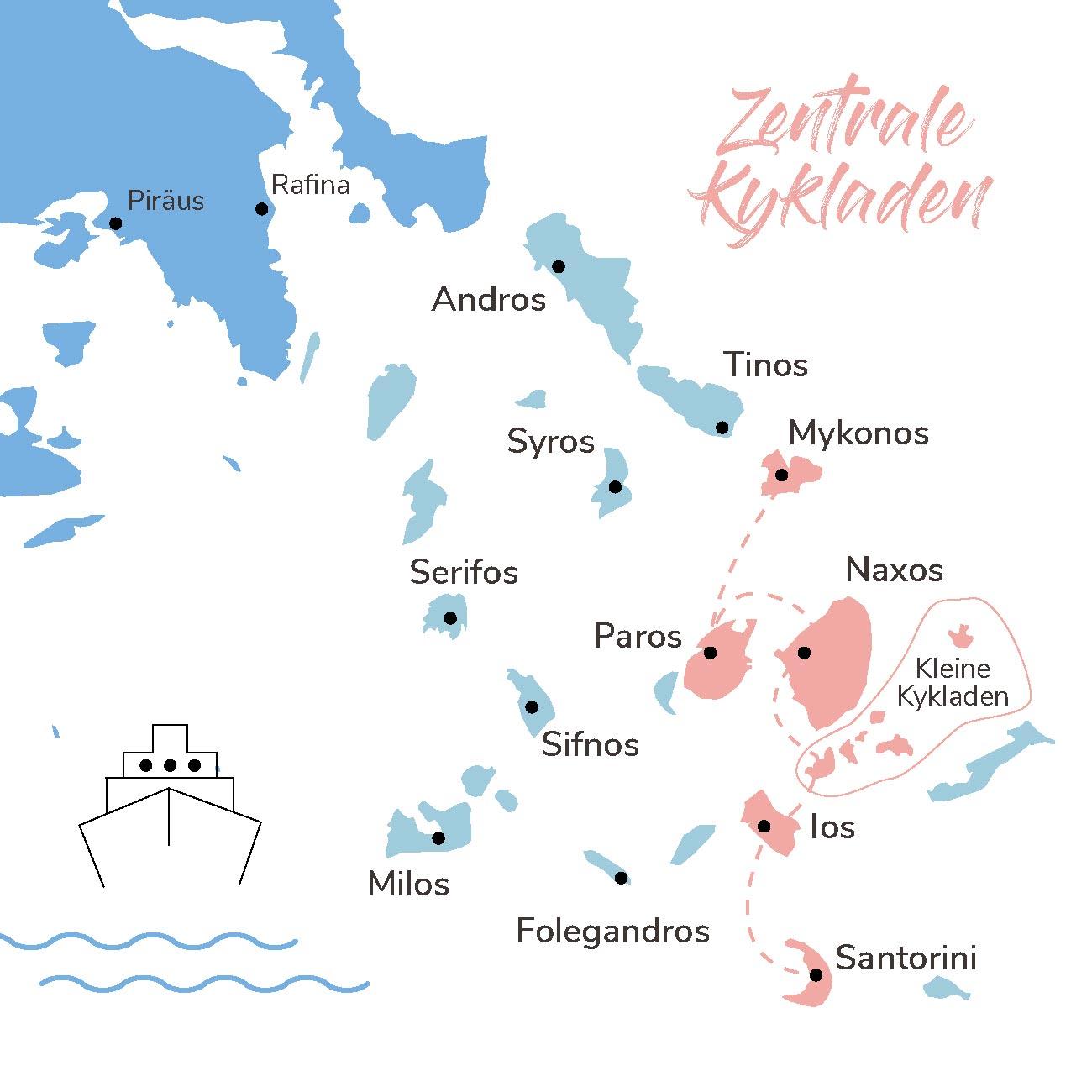 Map der Inselhopping Route Zentrale Kykladen