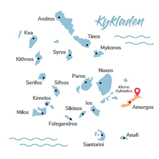 Kykladen Insel Map in blau nur Amorgos in orange