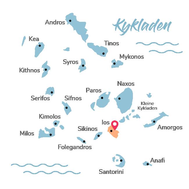 Kykladen Insel Map wobei Ios rot markiert wurde