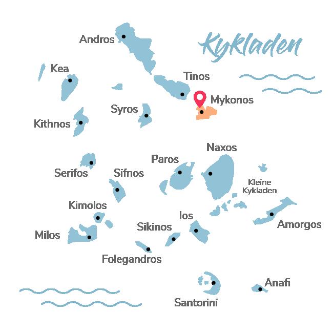 Kykladen Insel Map bei der Ios Rot markiert wurde