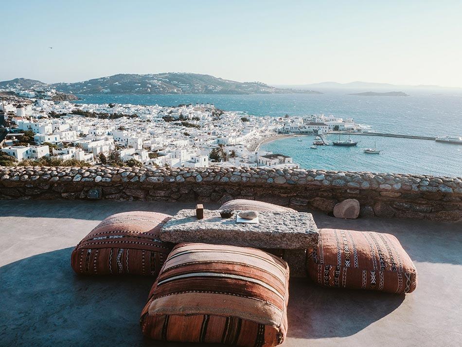 Mykonos Stadt von der Terrasse aus