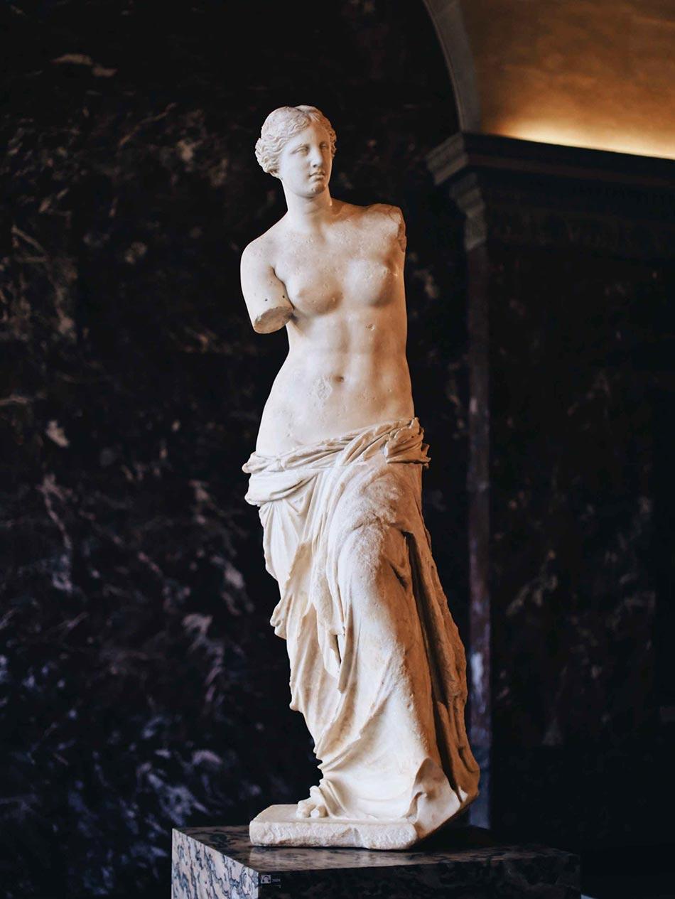 Venus von Milos aus Marmor. Wurde in Milos gefärtigt